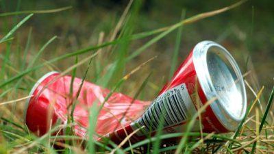 aluminiumburk i gräset