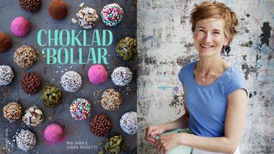 En bild på bokens om slag och en på författaren. Bokens omslag är täckt av chokladbollar med olika strössel på sig. Författaren har halvlångt hår och ler stort mot kameran. Hon har ett förkläde på sig och håller i en bakbunke.