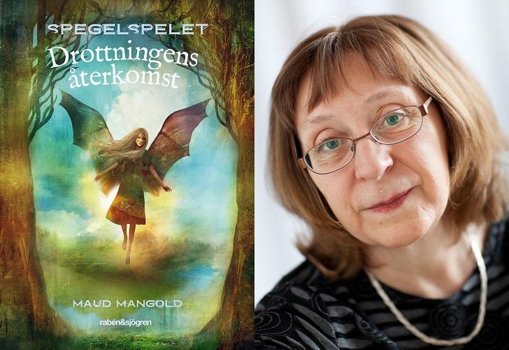 En bild på bokens omslag och en på författaren. På bokomslaget flyger ängeln Hilja mellan två stora träd. Författaren är ungefär 60 år, har hår som går ner till axlarna och glasögon. Hon ser snäll ut.
