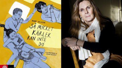Bokens omslag och en bild på författaren. På omslaget är det flera ritade personer som ligger och håller om varandra. Författaren är ungefär 50 år, har en del rynkor och har långt hår.