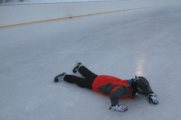 Elev som ramlat på isen.