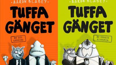 Framsidan på första och andra boken i serien om Tuffa gänget. På båda är det en tecknad haj och varg med kostym, en arg piraya som tittar fram bakom de andra och en orm med slips.