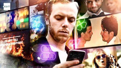 Närbild på Carl Déman. Han tittar ner i sin mobil. Bakgrunden är ett rutnät av olika kända personer som medverkar i spelreklam.