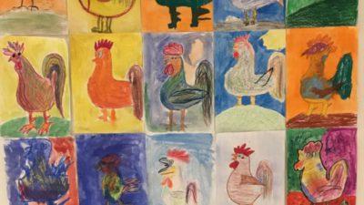 Målade tuppar med Picasso-ögon
