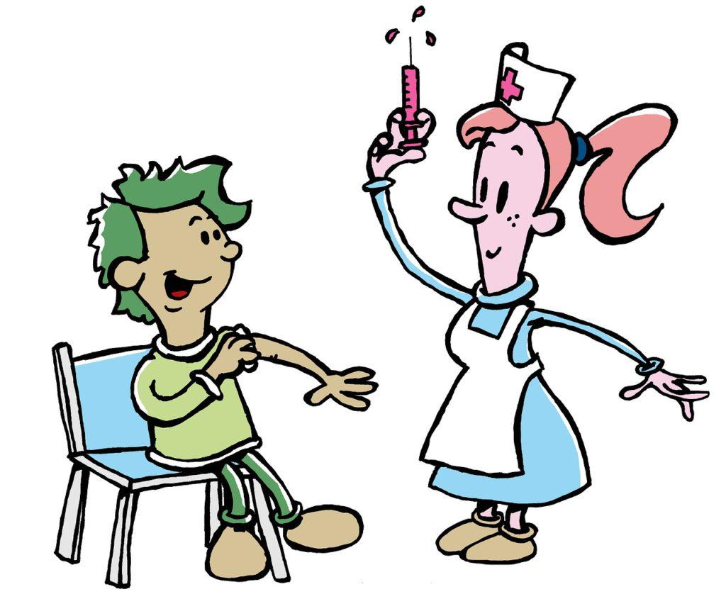 En tecknad bild på en sjuksköterska som ska ge ett glatt barn en spruta i armen.
