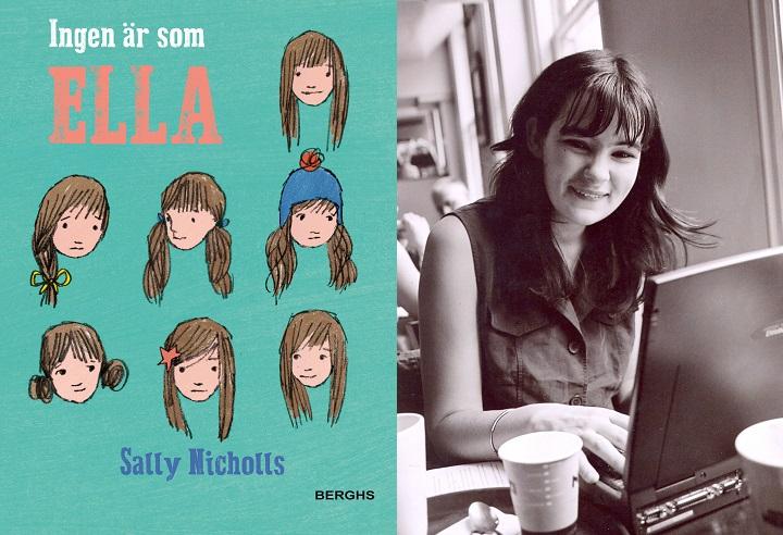 En bild på boken och en på författare. På boken är det ritat många olika versioner av Ellas ansikte. Vissa är glada, andra är ledsna. Några har tofs, andra mössa. Författaren sitter vid ett bord med en dator framför sig. Hon är ganska ung, kanske 25 år, och ler stort mot kameran.