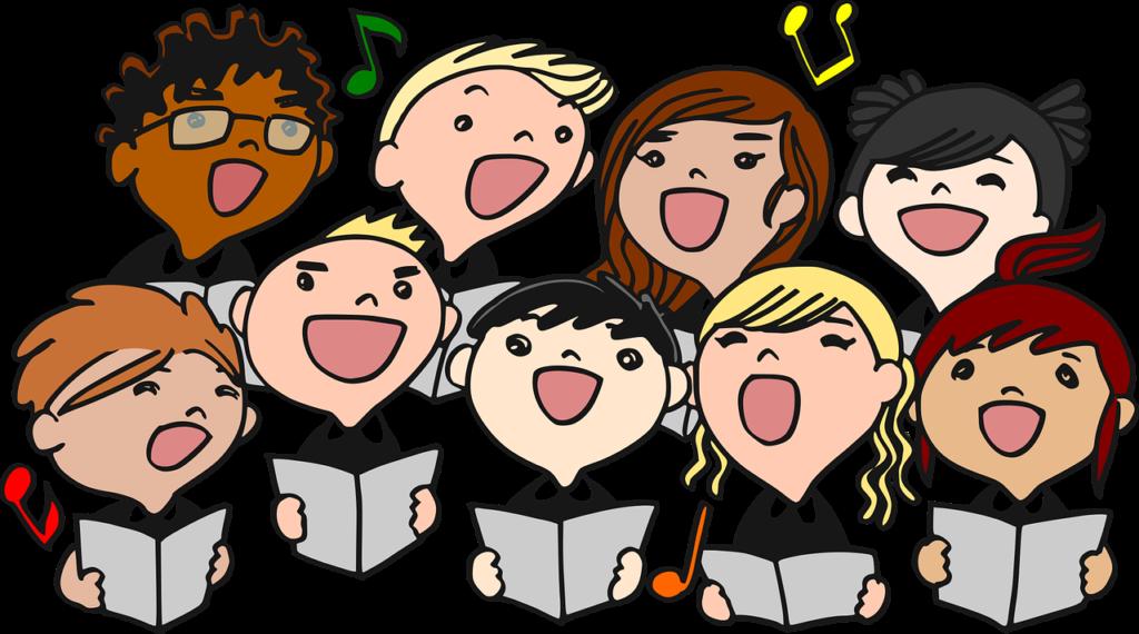 En tecknad kör som sjunger för full hals.