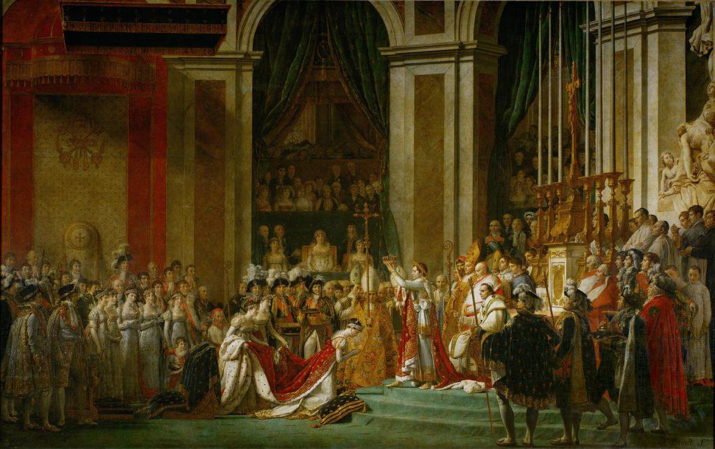 Oljemålningen visar många människor som samlats i Notre Dame för att kröna Napoleon till kejsare. På målningen ser man hur Napoleon knäböjer för att få sin krona.