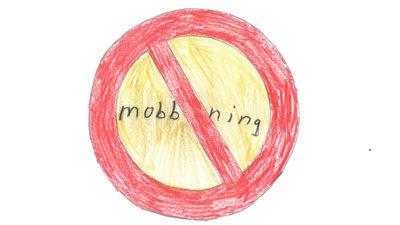 Teckning föreställande en skylt mot mobbning