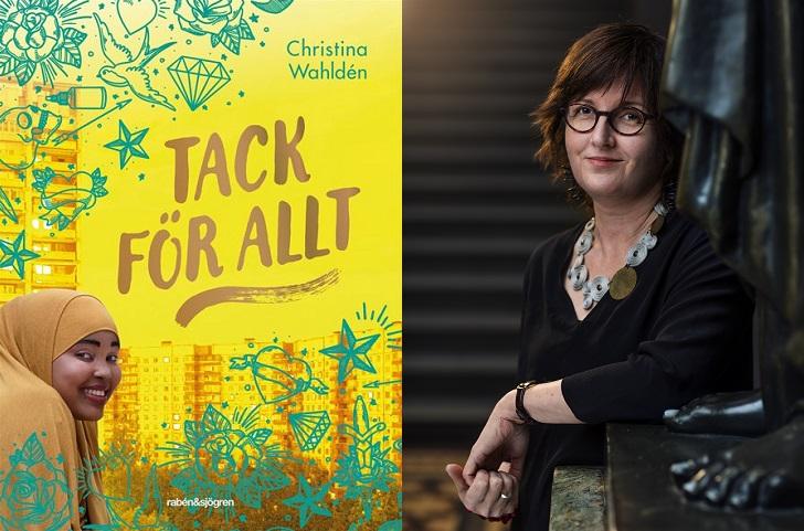 En bild på bokens omslag och en på författaren. På omslaget syns flera höghus i bakgrunden. Framför dem på boken är det klottrat massa stjärnor, hjärtan och krumelurer. Längst ner i hörnet ler en flicka. Hon har sjal och ser lurig ut. Författaren står bredvid en staty. Hon kanske är ungefär 40 år, har glasögon och hår som går ner till axlarna.