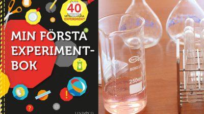 En bild på bokens omslag och en bild på flera labbflaskor i glas med vätskor i. På bokens omslag är det fullt av verktyg och symboler.