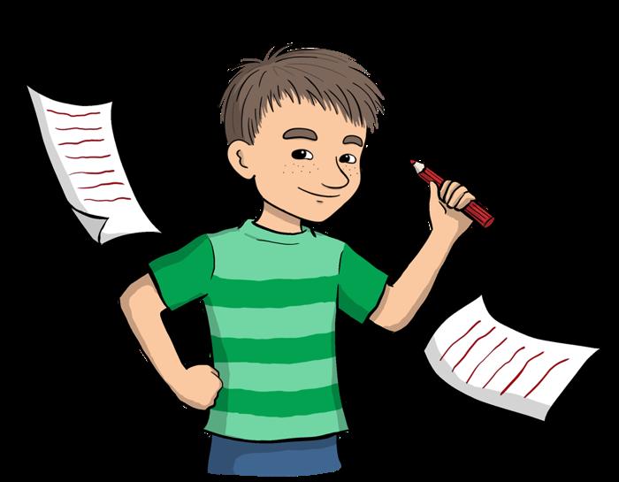 Illustrerad Mino som håller i penna.