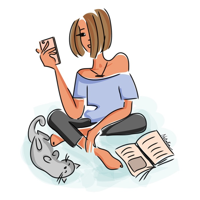 Illustration av tjej med mobil i handen