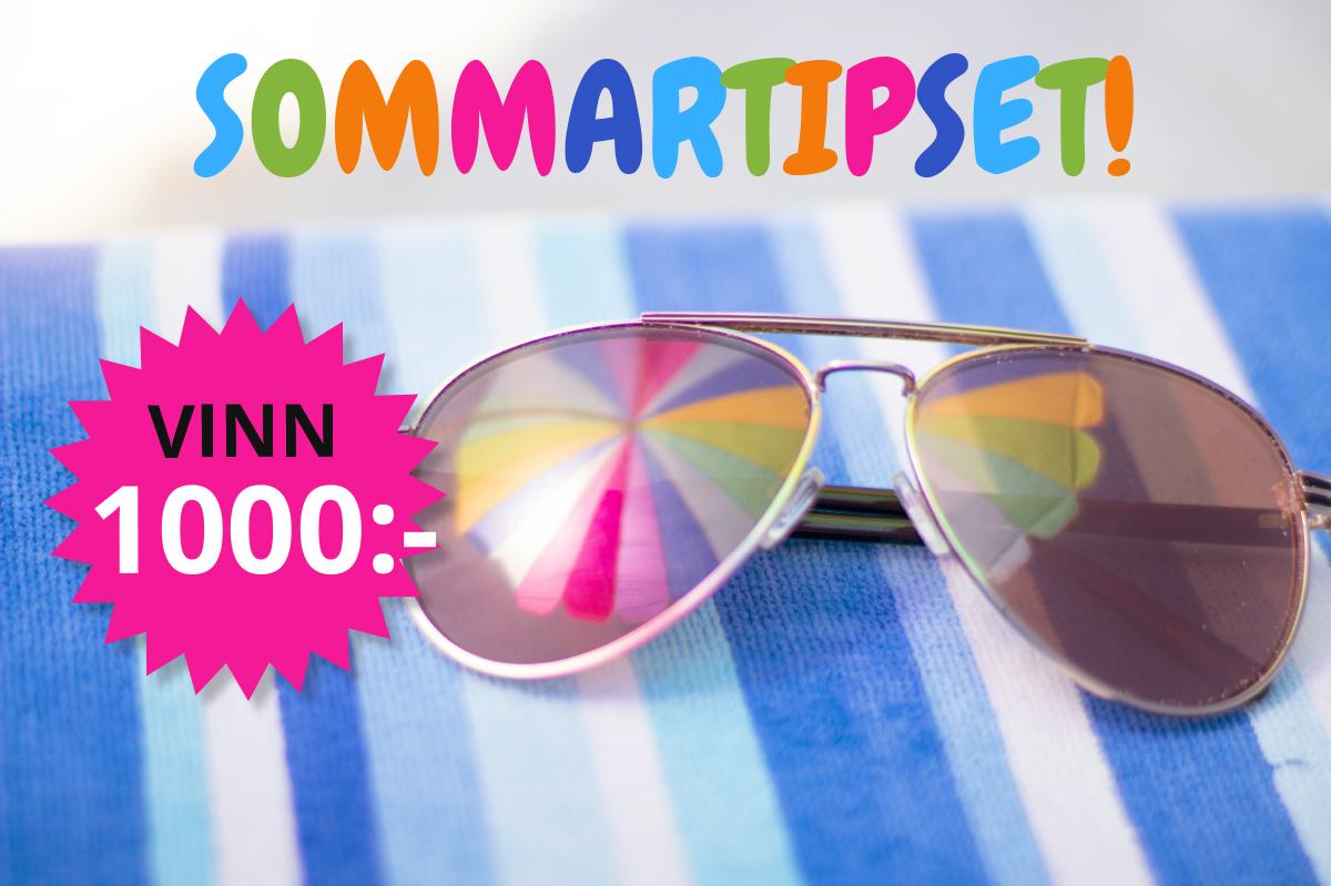 Sommartipset! En stor stjärna där det står: Vinn 1000 kronor! Bakom ligger det ett par solglasögon där ett parasoll speglar sig i glasen.