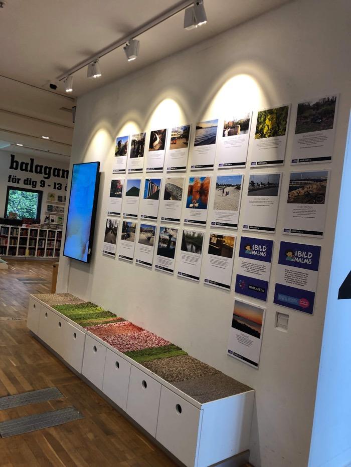 Bilder på väggen på Malmö stadsbibliotek