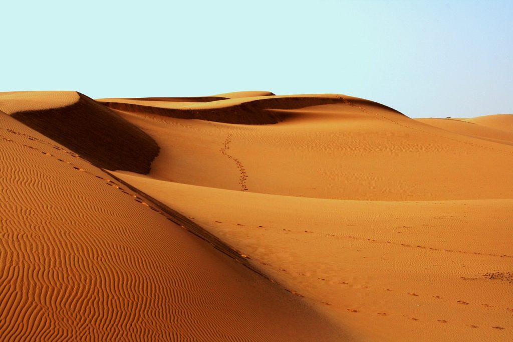 Bild på en öken. På sanddynorna syns fotsteg men inga människor.