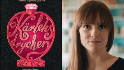 """En bild på boken och en bild på författaren. På boken är det en plaska med rosor på och en diamant som lock. Inuti flaskan står det """"kärleksdrycken"""" med snirkliga bokstäver. Författaren ser ganska ung ut, kanske 30 är. Hon har långt hår och en rak lugg."""