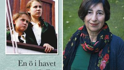Foto på författaren Annika Thor samt omslaget till boken En ö i havet.