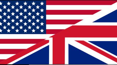 Halva USA:s flagga och halv Storbritanniens flagga.