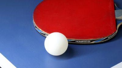Ett bordtennisrack och en pingpongboll ligger på ett bord.