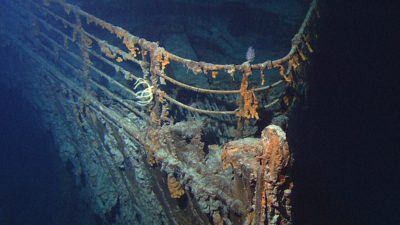 Ett rostigt vrak efter Titanic