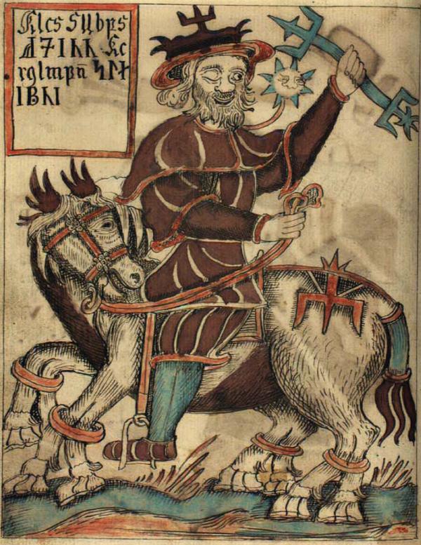 En gammal målning av guden Oden