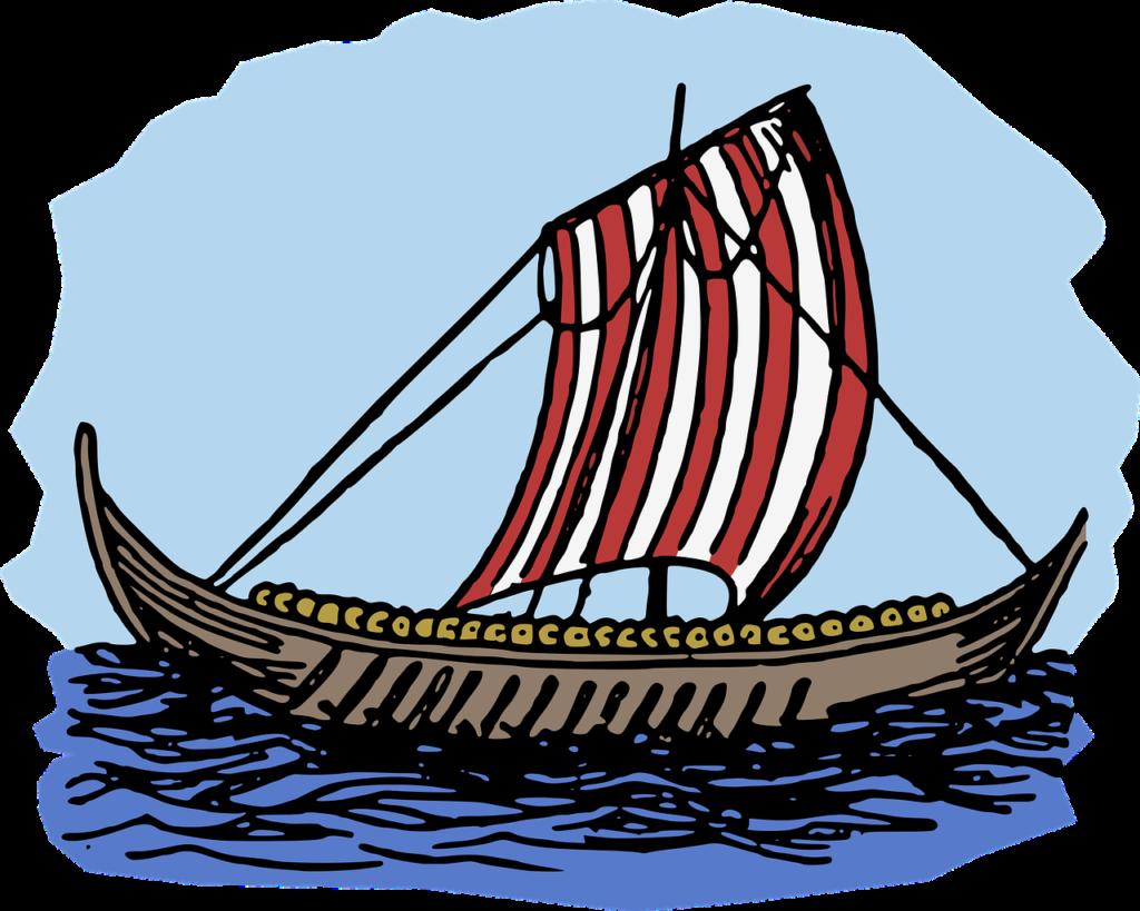 Ett vikingskepp med rödvitt segel