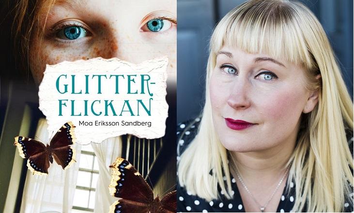 Bokens framsida och bokens författare. På framsidan syns en tjej med väldigt blåa ögon, en mystisk trappa och fjärilar som flyger runt. Författaren är ungefär 40 år med långt hår och lugg. Hin har läppstift och tittar allvarligt in i kameran.
