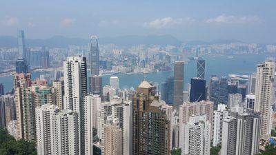 En bild över Hongkongs skyskrapor
