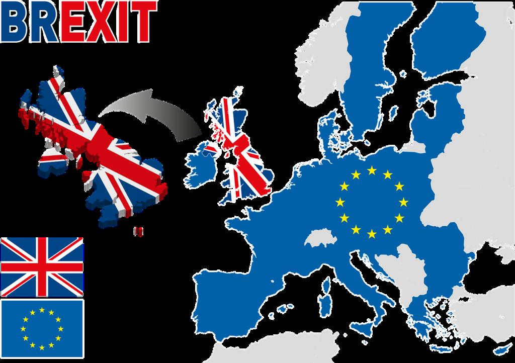 En karta över Europa med där storbritannien flyter iväg från Europa.