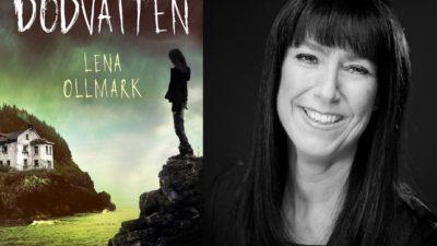 Lena Ollmark bredvid sin bok dödsvatten