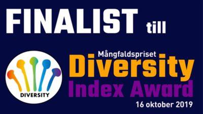 Logga med texten: Finalist till Mångfaldspriset Diversity Index Award, 16 oktober 2019