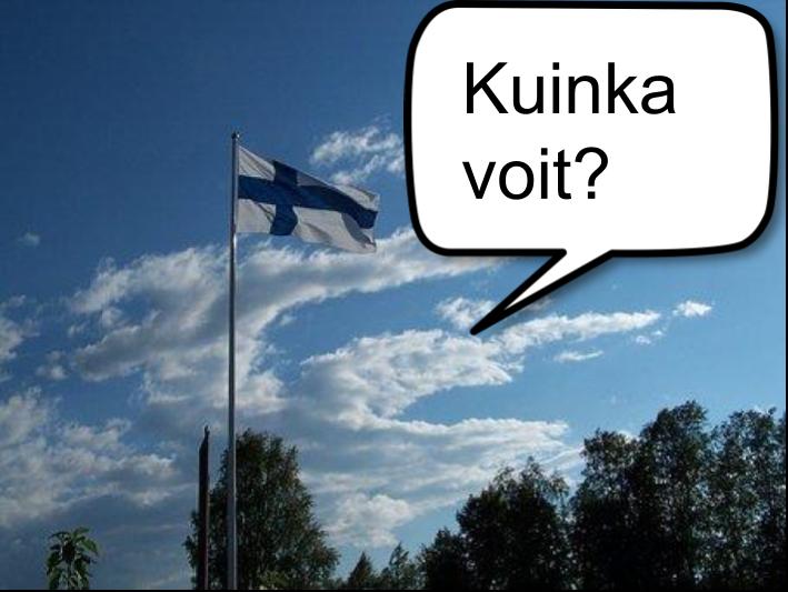 """Finska flaggan bredvid en pratbubbla med texten """"kuinka voit?"""""""