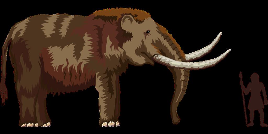 En mammut och en person med spjut