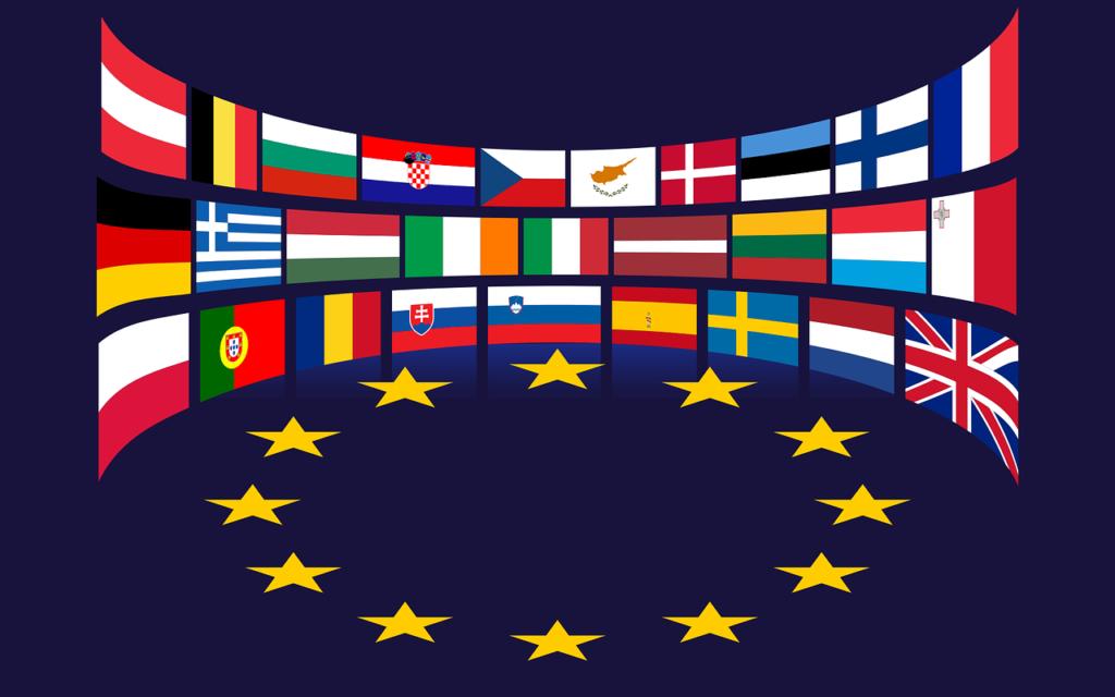 Europeiska flaggor runt EUs stjärnsymbol