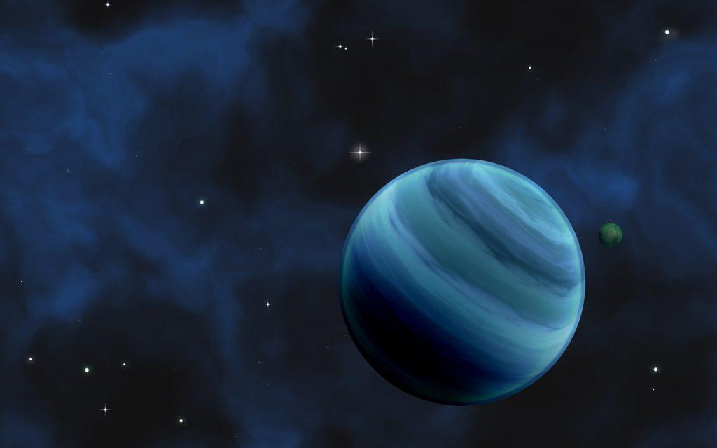 En målad bild av en blå planet