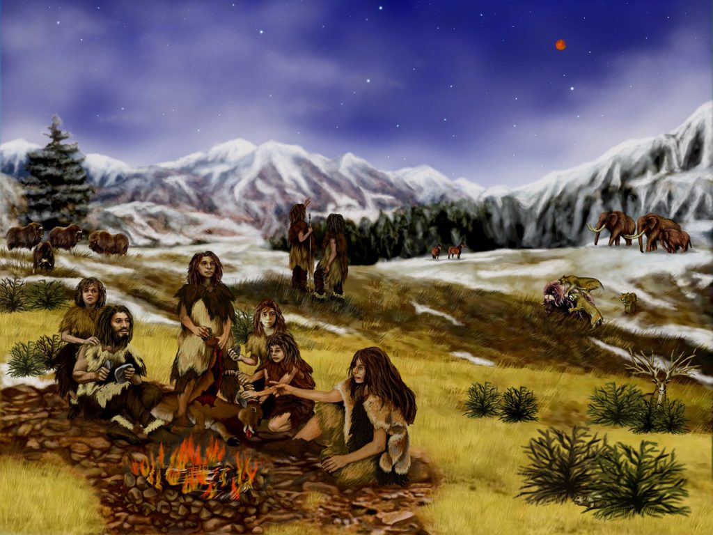 En målad bild på neandertalare som sitter tillsammans vid en brasa