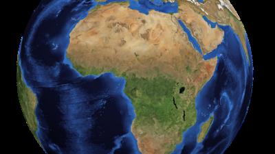 En bild på vår planet, med Afrikas kontinent som syns mest