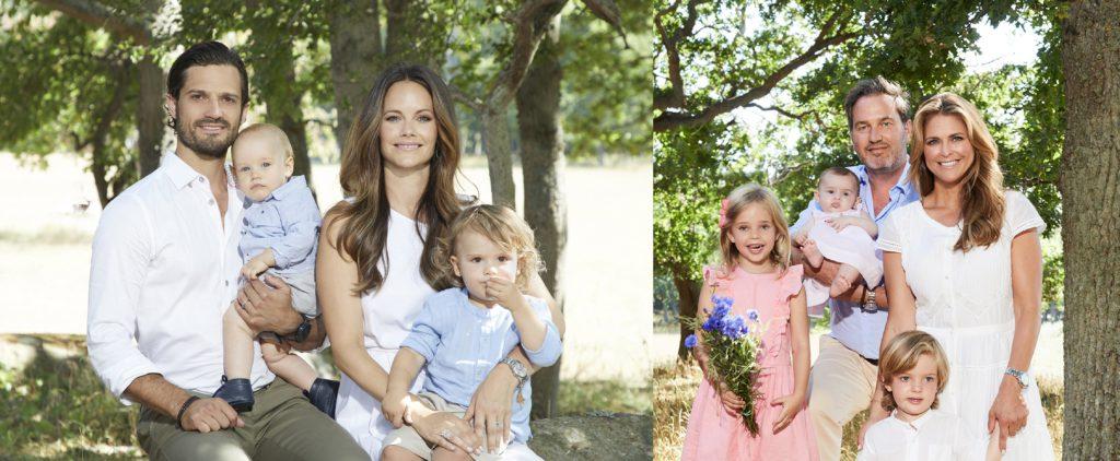 Prins Carl Philip och Prinsessan Madeleine med familjer.