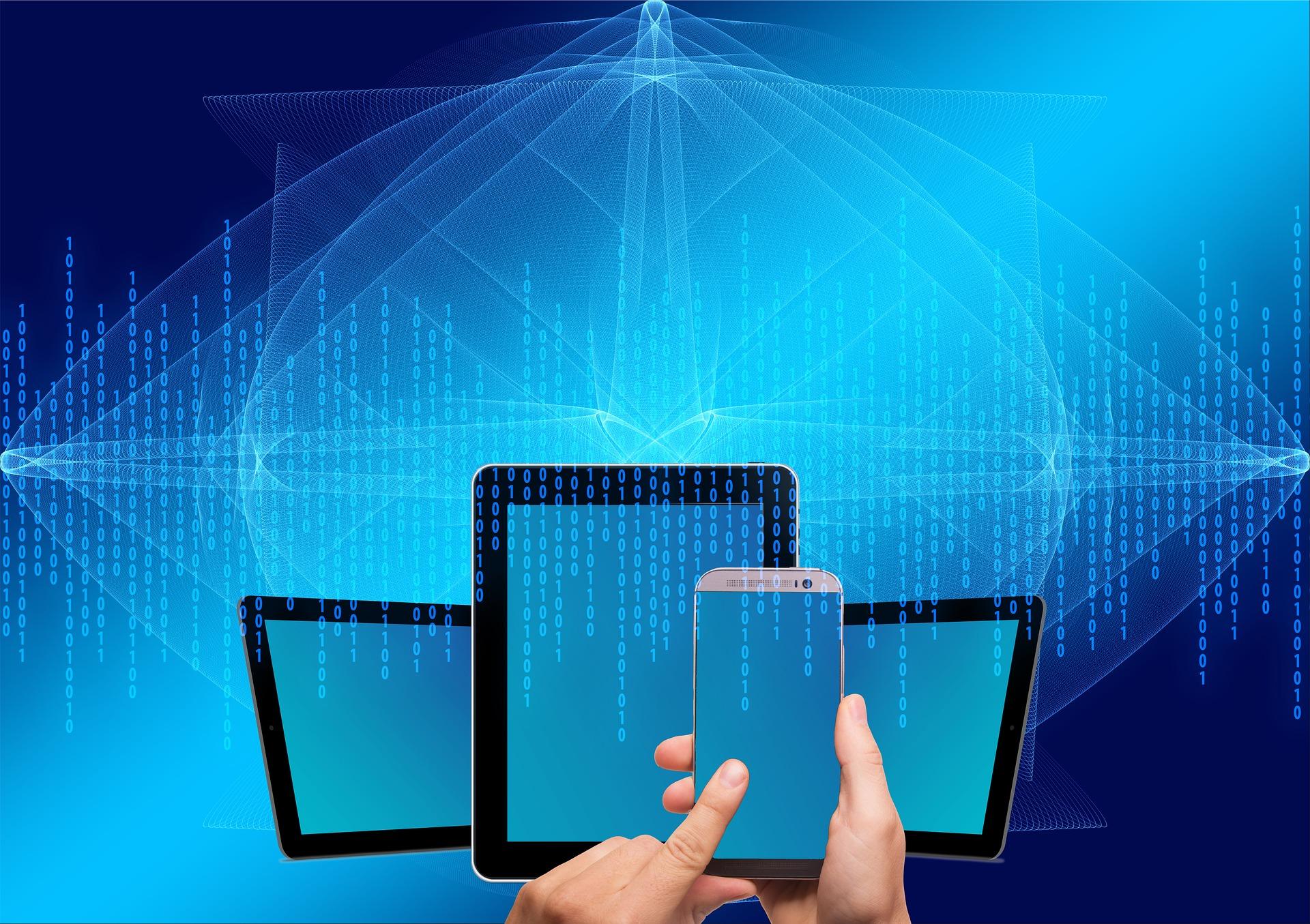 Mobiler, surfplattor och datorer i blått ljus