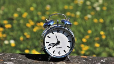En väckarklocka står på en sten. Bakom syns en äng fylld med maskrosor. Sommarsolen lyser.
