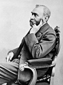 Svartvitt fotografi av Alfred Nobel
