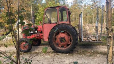 Ett foto på en röd traktor som heter Buster