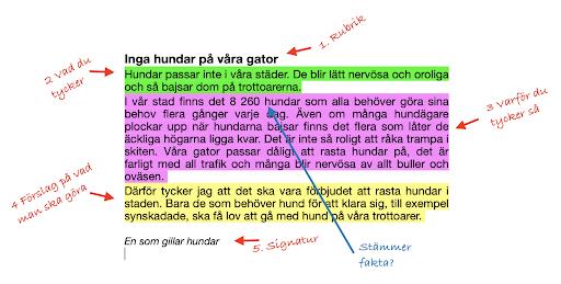 Text som visar olika delar av en insändare