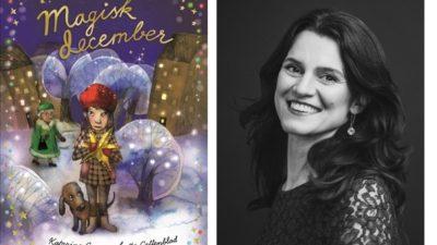 Katarina Genar bredvid sin bok Magisk december