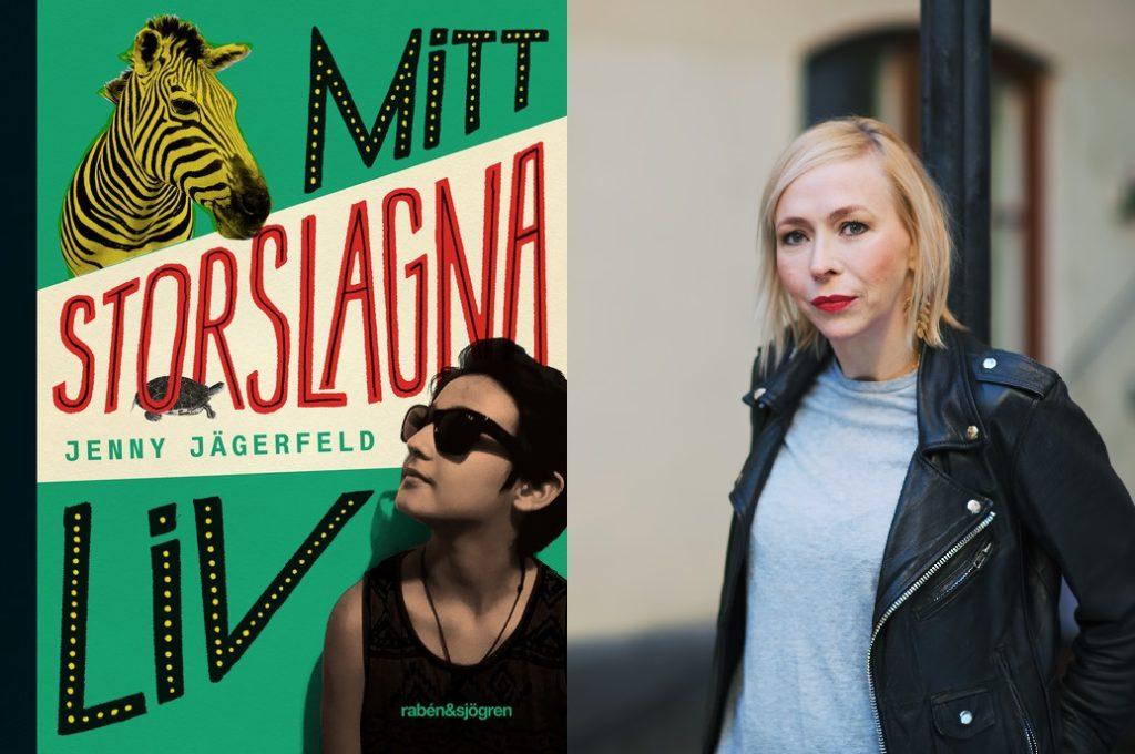 Författaren Jenny Jägerfeld bredvid sin bok Mitt storslagna liv