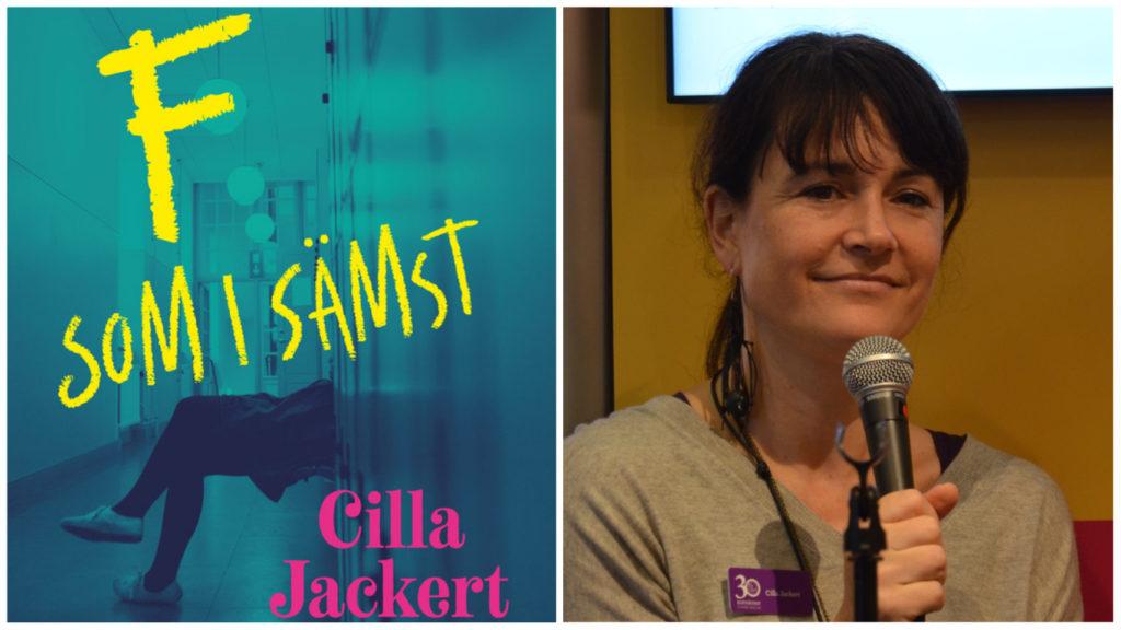 Collage på Cilla Jackert och hennes bok.