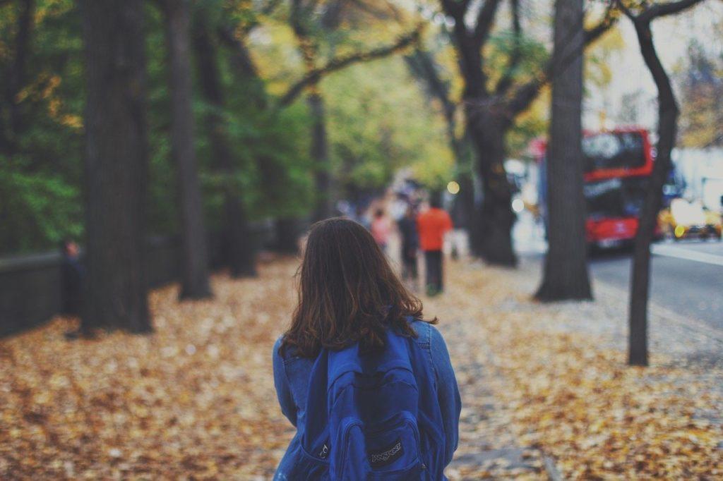 Ett barn går i en allé med träd. Man ser bara ryggen och det långa håret. Barnet har en ryggsäck på sig. Det ligger massa höstlöv på marken.