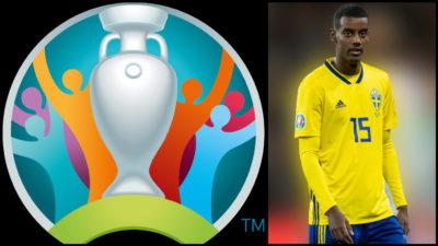 Collage på fotbolls-em logo och Alexander Isak