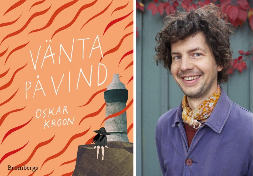 Oskar Kroon bredvid boken vänta på vind